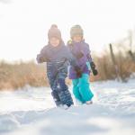 kids running outside in winter