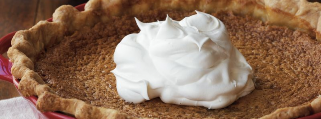 bourbon sugar pie with whipped cream