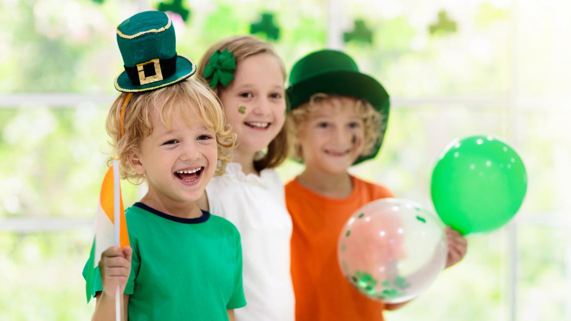 kids celebrating saint patrick's day