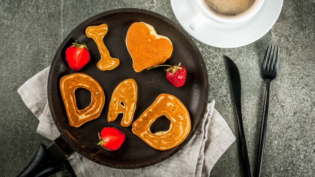"""pancakes shaped to spell """"I love dad"""""""
