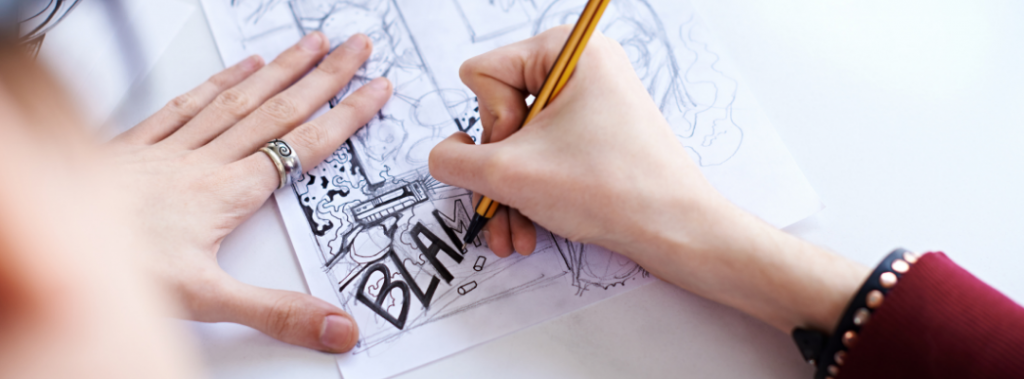 kid drawing comic art