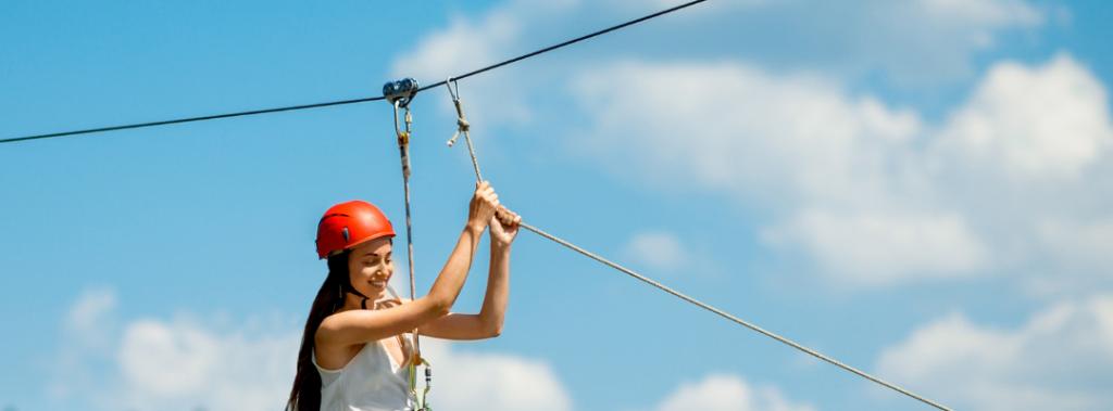 ziplining woman